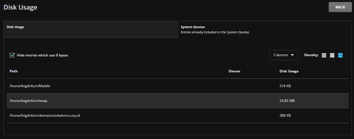 Melihat Disk usage pada Direct Admin